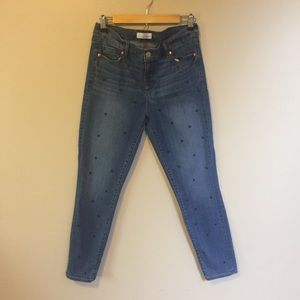 LOFT Modern Skinny Ankle Polka Dot Jeans Sz 10
